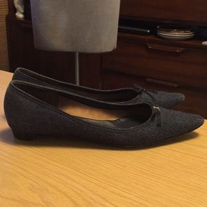 Ferragamo Denim Kitten Heel Shoes Sz 11 B